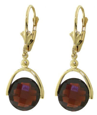 14k Yellow Gold Leverback Earrings with Checkerboard Cut Garnets