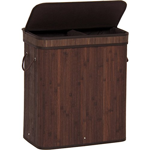 Bamboo Dark Brown Double Hamper Laundry Basket Sorter Storage Home Decor Clothes Wash Washing Organizer Bin Bag Lid Portable Foldable Durable And Stylish Removable Liner Bag - Adelaide Store Myer