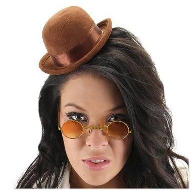 Steampunk Mini Bowler Brown Hat