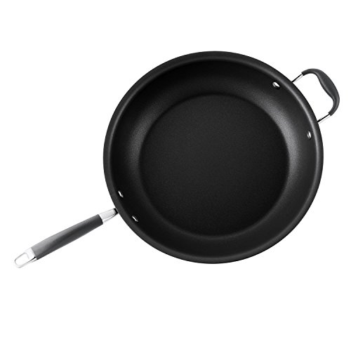 Anolon Advanced Hard-Anodized Nonstick 14-Inch Skillet with Helper Handle, Gray