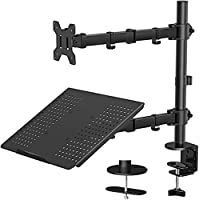 Mountify Single LCD/LED Monitor Desk Mount - Tray for Laptop/Notebook - Fully Adjustable Stand - up to 15 inch Laptop…
