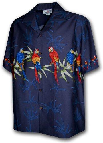 Bamboo Mens Aloha Shirt - Hawaiian Aloha Shirt Parrot Bamboo Navy (Made in Hawaii)