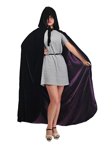 [Topwedding Christmas Deluxe Cloak Halloween Costumes Capes, black & purple, XL] (Velvet Gothic Cloak 63 Deluxe Costumes)