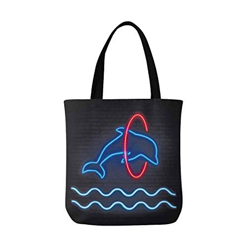 InterestPrint Reusable Grocery Canvas Bag with Two Sturdy Shoulder Straps Dolphin Jumping Through a Hoop. Neon Pattern Summer