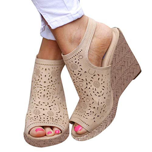 Amlaiworld Women Sandals Fashion Hollow Wedges Peep-Toe Straw Thick Bottom Shoes Roman Sandals Beach Breathable Hole Shoes Beige