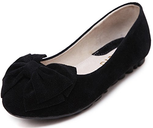 Women's Round Toe Flat Loafers Sweet Casual Shoes with Bow Black - 9