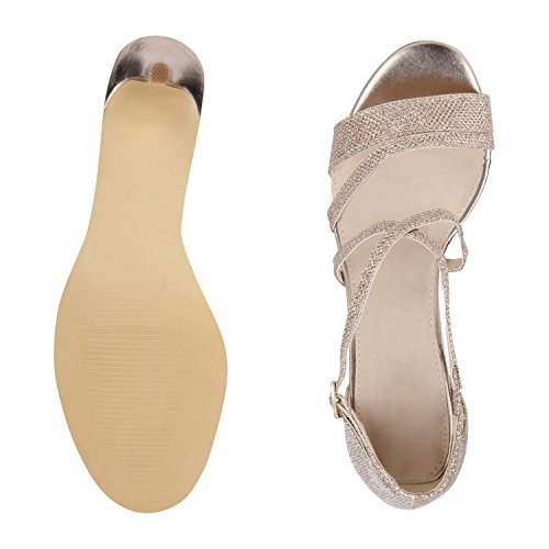 napoli-fashion - Tira de tobillo Mujer , color dorado, talla 38 EU