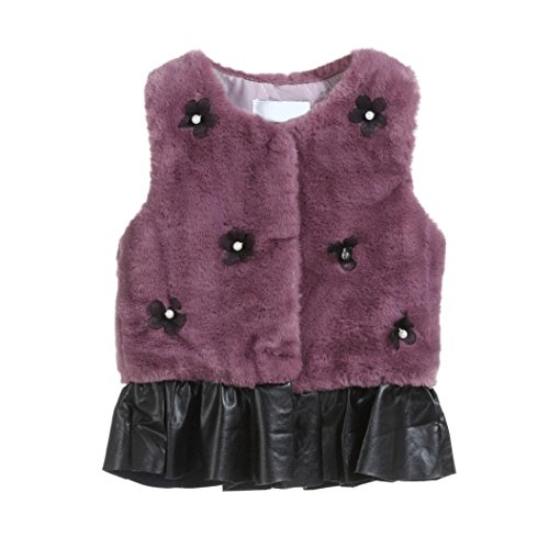 Kintaz Kid Baby Girls Flowers Faux Fur Vest Waistcoat Thick Coat Splice Outwear Ruffle Tutu Skirt Party Princess Dress (18M, Purple)