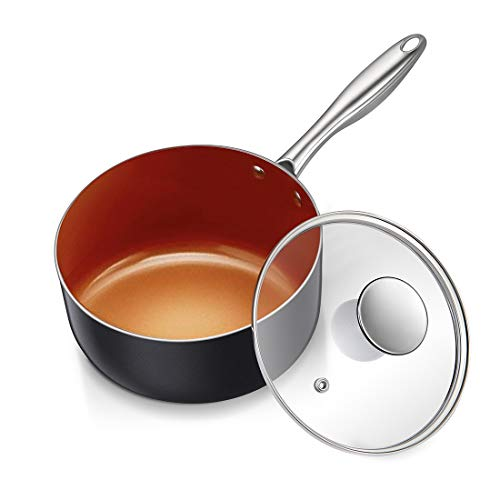 MICHELANGLEO 3 Quart Sauce Pan with Ultra Nonstick Ceramic Titanium Coating, Nonstick Saucepan with Lid, Copper Saucepan, Ceramic Sauce pan, 3Qt Saucepan with Lid, Small Sauce Pot, Copper Pot - 3 Qt
