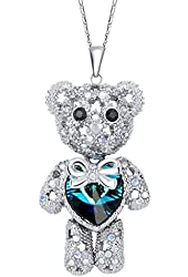 EleQueen Women's Silver-tone Love Heart Bear Pendant Necklace Adorned with Swarovski® Crystals