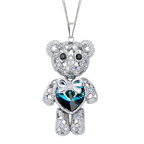 Polished Bear Pendant (EleQueen Women's Silver-tone Love Heart Bear Pendant Necklace Blue Adorned with Swarovski Crystals)