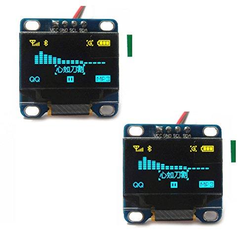 "DIYmall 0.96 ""0.96 اینچ ماژول آبی / سفید / زرد و آبی I2C سریال 128X64 OLED LCD ماژول نمایشگر برای آردوینو (بسته 2 قطعه) (زرد و آبی)"