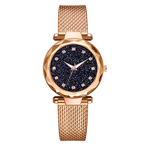 - LUCAMORE Luxury Starry Sky Women Watches Mesh Bracelet Rhinestones Quartz Ladies Waistwatch Stainless Steel Band