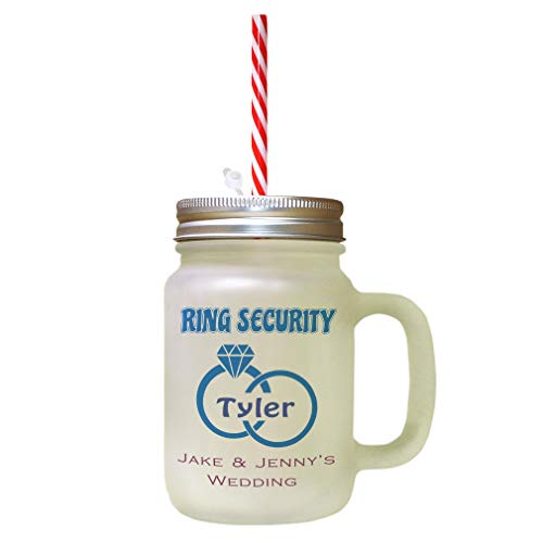Custom Ring Security Ring Bearer Frosted Glass Mason Jar With Straw