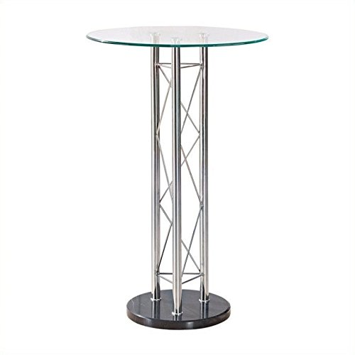 Global Furniture Bar Table, Clear/Black/Chrome