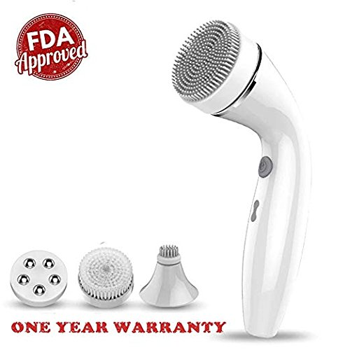 Cleansing Facial Brush, IPX6 Waterproof Facial Cleansing Spin Rechargeable Brush Set with 4 Heads,Complete Face Spa System by BOWADA