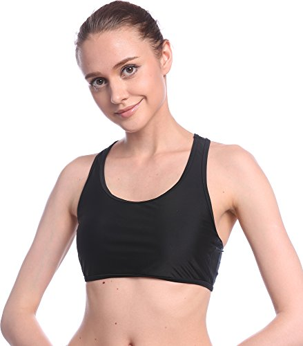 Ababalaya Womens' Muslim Sports Bra Swimsuit Top, Black, M by Ababalaya