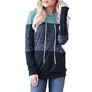 Topstype Women's Pullover Long Sleeve Hoodies Color Block Tunics Loose Casual Sweatshirts