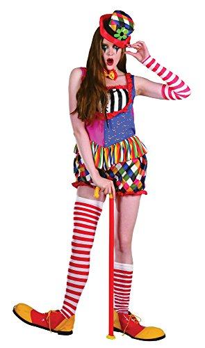 Bristol Novelty AC210 Rainbow Clown Female Costume, UK 10-14 -