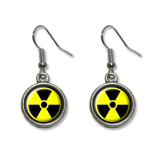 Radioactive Nuclear Warning Symbol Novelty Dangling Dangle Drop Charm Earrings -
