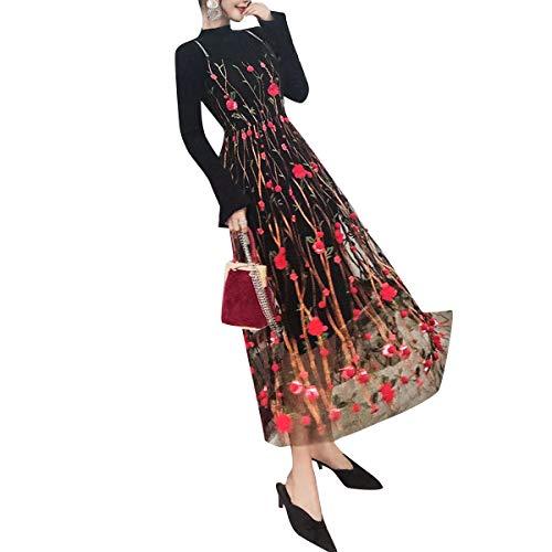 Del La Vestidos Espagueti Correa De Malla Los Floral Rojo Juego Bordado Básico Vestido Punto Umvyendt 4qxfYY