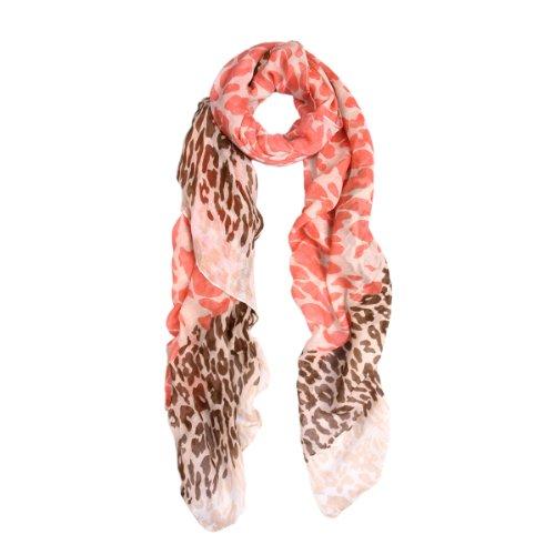 Premium Spot Leopard Multi Tone Animal Print Scarf, Orange ()