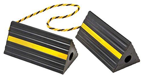 BUNKERWALL Industrial Rubber Wheel Chock Blocks with Rope 9.6