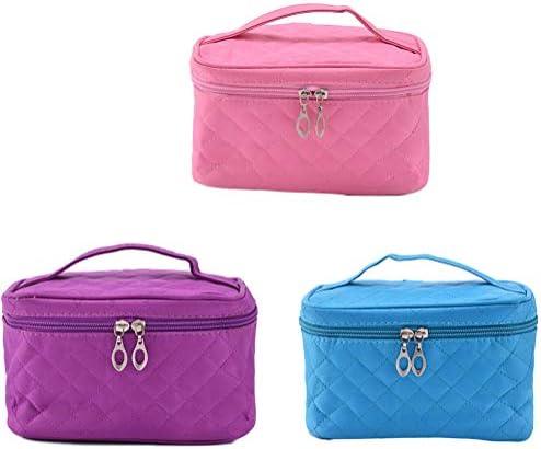 旅行化粧ケース、ジッパー付きミラー付き女性と男性のための防水大型トイレタリーナイロン単層旅行化粧バッグ、3個