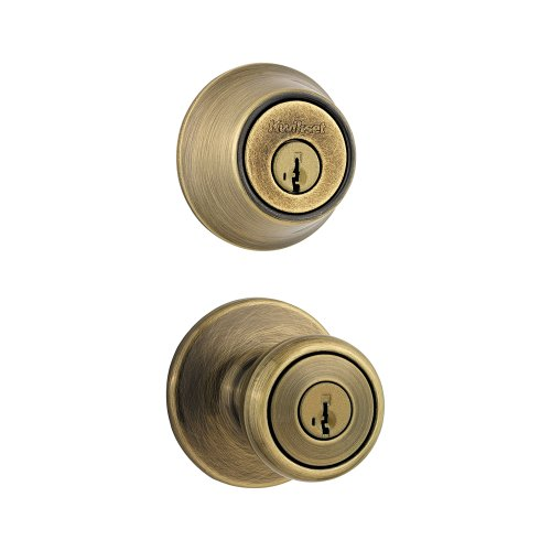 - Kwikset 690 Tylo Entry Knob and Single Cylinder Deadbolt Combo Pack featuring SmartKey in Antique Brass