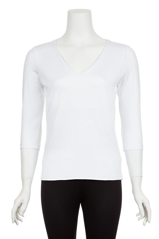 A'Nue Miami Women's Veronica, 3/4 Sleeve Basic V Neck Shirt, L2, White
