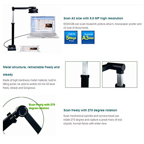 eloam Portable USB Document Camera Scanner S500A3B with,A3 Capture Size,5 MegaPixel CMOS, High-Definition Digital Visual Presenter by eloam (Image #5)