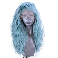 Accuyc Hair Synthetic Wig Lace Front Long Curly with Natural Blue Color Wavy Long Wave Heat Resistant Party Wigs for Girls Women (Long Wave Wigs)