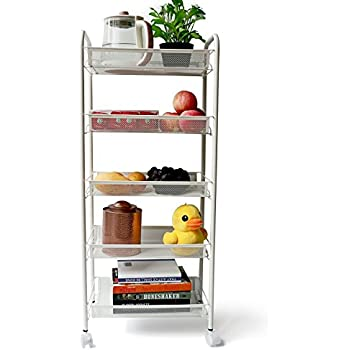 Amazon.com - GEYUEYA Home Metal Basket Rolling Cart Trolly Kitchen ...