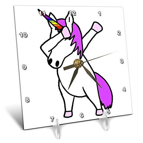 3dRose AllSouthernDesignTees - Dabbing - Cute funny cool dabbing dance unicorn trendy cartoon - 6x6 Desk Clock (dc_290614_1) by 3dRose (Image #1)