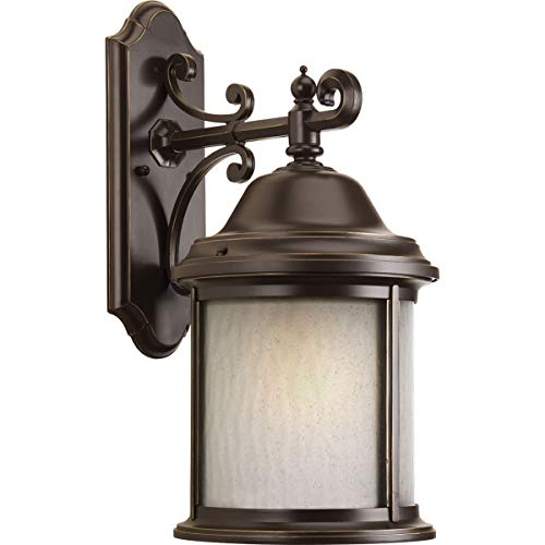 Progress Lighting P5876-20WB 1-Light Wall Lantern with Bulb Water Seeded Glass Curved Panels