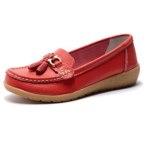 En Tailles Confort Grandes Rouge Cuir Avec Pompon Y Femme Mocassins Perforations aYqzOBzp