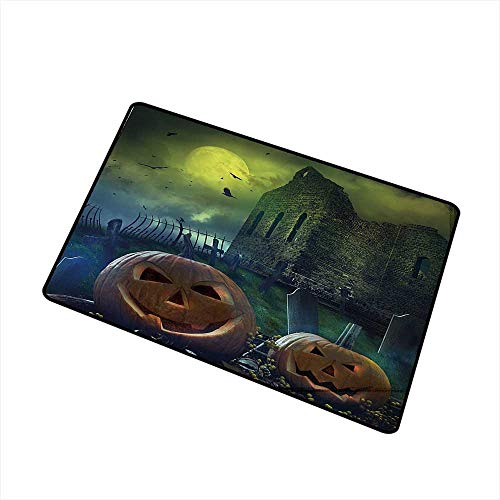 Axbkl Throwing mat Halloween Decorations Pumpkin in Spooky Graveyard in Old Stone Haunted House in Dark Night W30 xL39 Country Home Decor Grey Yellow -