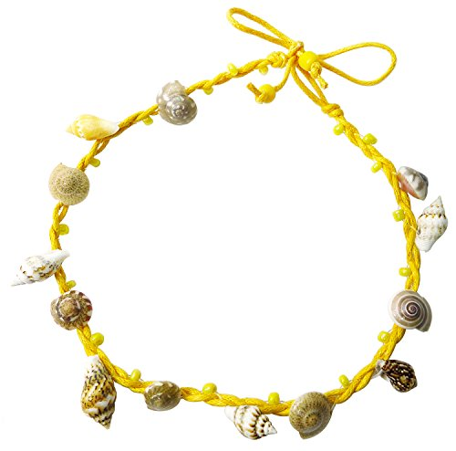 BDJ Handmade Tiny Shells Cotton Cord Anklet Bracelet Free Size (Yellow)