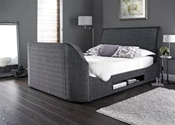 Superking Size Maximus Charcoal Fabric Multimedia Tv Bed Frame