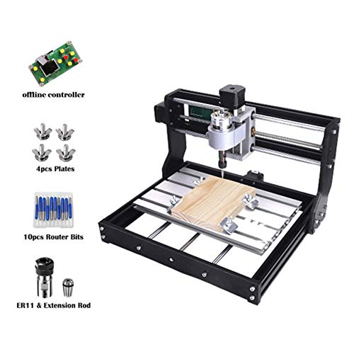 SEAAN CNC 3018 Pro Router Machine GRBL Control DIY Laser Engraving Carving Milling Machine with Offline Controller, ER11 and 5mm Extension Rod - Working Area 7.1'' x 3.9'' x 1.8'', 3 Axis