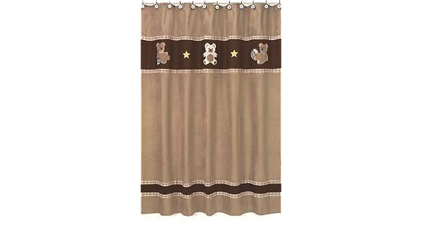 Amazon Sweet Jojo Designs Chocolate Teddy Bear Kids Bathroom Fabric Bath Shower Curtain Baby