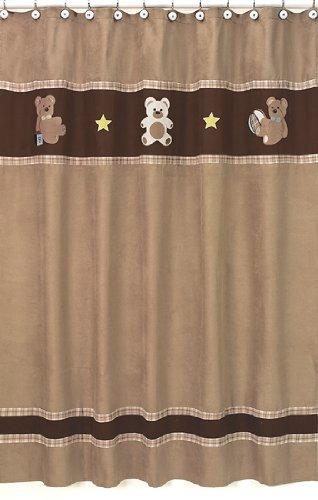 Sweet Jojo Designs Chocolate Teddy Bear Kids Bathroom Fabric Bath Shower Curtain ()