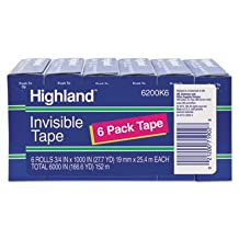"""Invisible Permanent Mending Tape, 3/4"""""""" x 1000"""""""", 1"""""""" Core, Clear, 6/Pack, Sold as 6 Roll"""
