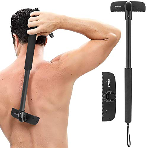 Flend Back Razor, Painless Back Hair Removal with Stretch Adjustment Handle, Wet or Dry Body Shaver, Body Trimmer Groomer for Men, 12.5 cm Extra Wide Replacement Razor Blades Included