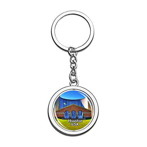 USA United States Keychain Water Wall Houston Key Chain 3D Crystal Spinning Round Stainless Steel Keychains Travel City Souvenirs Key Chain Ring -