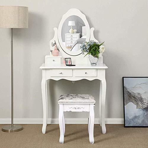 Iglobalbuy Tocador, Escritorio de Maquillaje con Taburete, Mesa de cosmetica Blanca con Espejo para el Dormitorio (BDT2154)