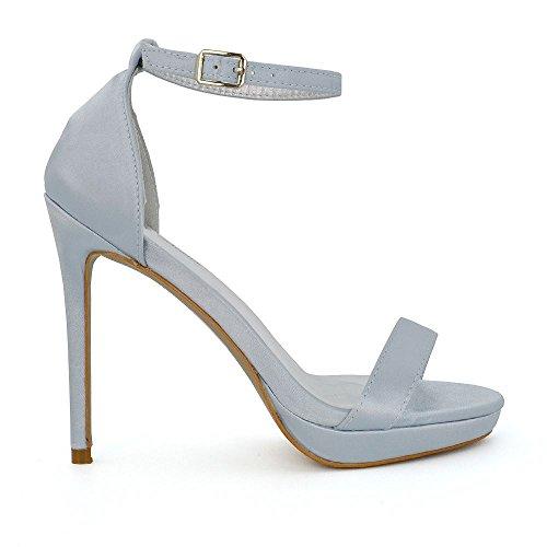femme Bride de Satin Heels Silver Platform cheville GLAM There ESSEX Barely wq86X1Znx