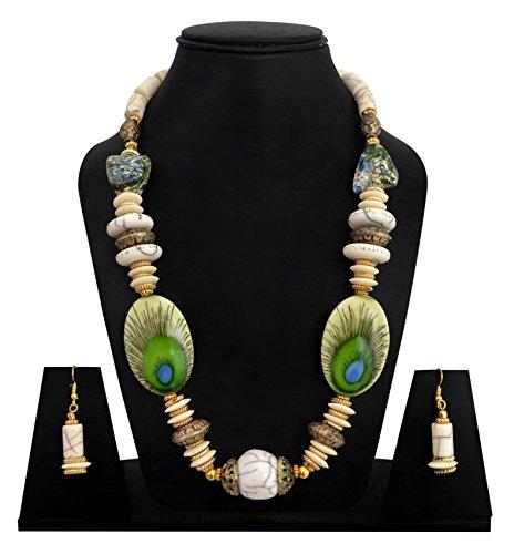 Diyofa Women's Peacock Feather Design Necklace Set 5 X 5 X 5