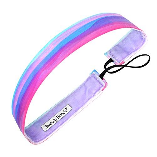 (Sweaty Bands Womens Girls Headband - Non-Slip Velvet-Lined Fitness Hairband - Watercolors Purple 1-inch)