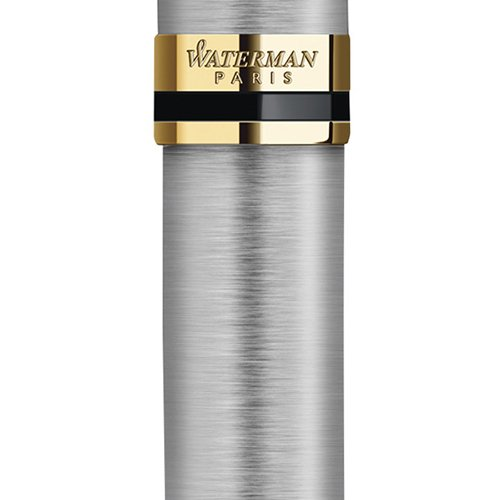 Waterman Expert Rollerball Pen, Stainless Steel with 23k Gold Trim, Fine Point with Black Ink Cartridge, Gift Box by Waterman (Image #2)